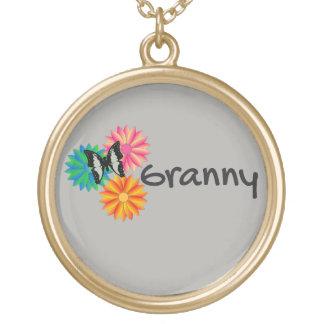 おばあさんの花の蝶ネックレス ゴールドプレートネックレス