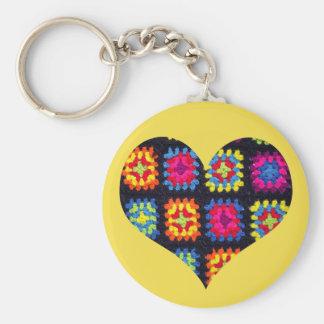おばあさん正方形のKeychain -かぎ針編みKeychain キーホルダー