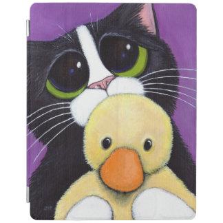 おびえさせていたタキシード猫および愛らしいアヒルの絵画 iPadスマートカバー