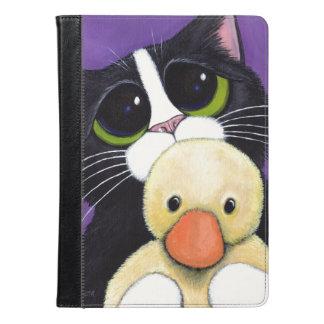 おびえさせていたタキシード猫および愛らしいアヒルの絵画 iPad AIRケース