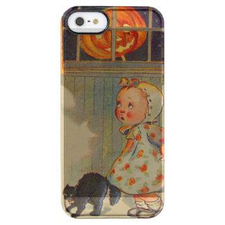 おびえさせていた女の子のジャックOのランタンの黒猫の悪ふざけ クリア iPhone SE/5/5sケース