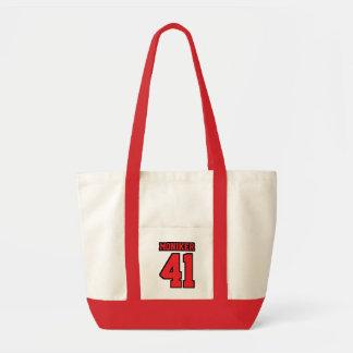 おむつのバッグの白人の赤く黒いフットボールの赤ん坊 トートバッグ