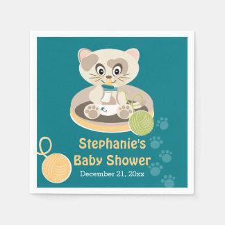 おむつのベビーシャワーのティール(緑がかった色)猫 スタンダードカクテルナプキン