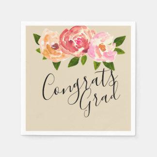 おめでとうの卒業生のシックな花の卒業パーティーのナプキン スタンダードカクテルナプキン