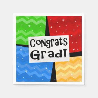 おめでとうの卒業生の陽気で多彩な卒業パーティー スタンダードカクテルナプキン