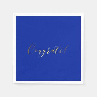 おめでとうの金ゴールドホイルの効果の紙ナプキン スタンダードカクテルナプキン