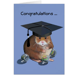 おめでとうは卒業します: ハムスター: すべてはそのまま大理石模様をつけます カード