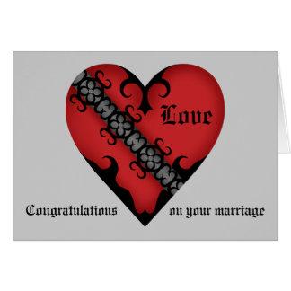 おめでとうを結婚するロマンチックなゴシック様式中世ハート カード