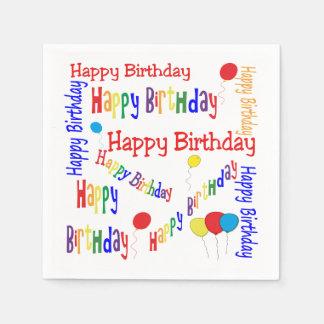 おもしろいおよびお祝いのハッピーバースデーの紙ナプキン スタンダードカクテルナプキン