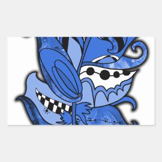 おもしろいおよびファンキーな羽シリーズ青い落書き 長方形シール