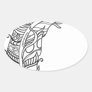 おもしろいおよびファンキーな羽シリーズ 楕円形シール