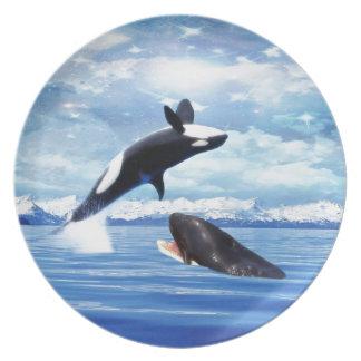おもしろいおよび演劇の夢みるようなクジラ プレート