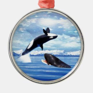 おもしろいおよび演劇の夢みるようなクジラ メタルオーナメント