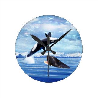 おもしろいおよび演劇の夢みるようなクジラ ラウンド壁時計