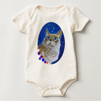 おもしろいおよび粋な猫のポートレート ベビーボディスーツ