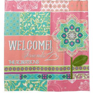 おもしろいお洒落で明るい色のBohoのコテージの歓迎 シャワーカーテン