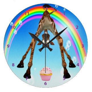 おもしろいでお洒落なキリンのカップケーキ及び虹 ラージ壁時計