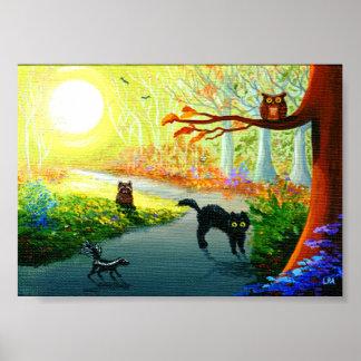 おもしろいでお洒落な猫のフクロウのスカンクのアライグマの森林 ポスター
