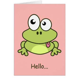 おもしろいでかわいいカエルの漫画の子供 カード