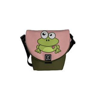 おもしろいでかわいいカエルの漫画の子供 メッセンジャーバッグ