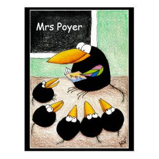 おもしろいでかわいいカラスの先生学生Classpostcard ポストカード