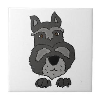 おもしろいでかわいいシュナウツァー犬の芸術 タイル