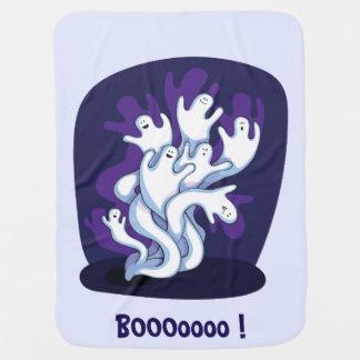 おもしろいでかわいい幽霊のハロウィンの漫画のベビー ベビー ブランケット