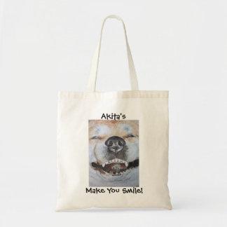 おもしろいでかわいい秋田の微笑の現実主義者犬の芸術 トートバッグ