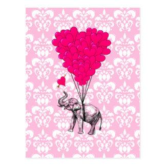 おもしろいでかわいい象及びピンクのダマスク織 ポストカード