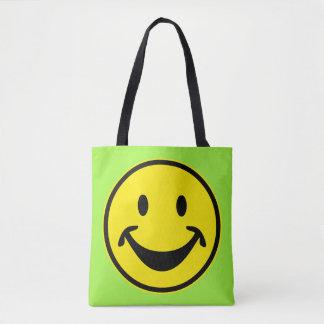 おもしろいでにこやかな黄色 + あなたのbackg。 及びアイディア トートバッグ