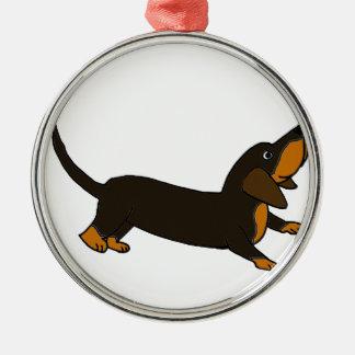 おもしろいでよくはしゃぐなダックスフント犬 メタルオーナメント