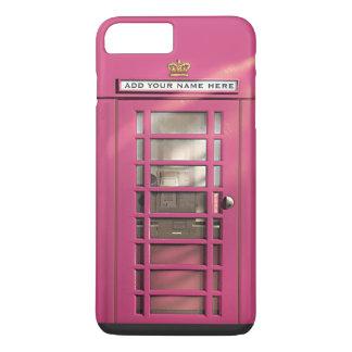 おもしろいでガーリーなピンクのイギリスの公衆電話ボックス iPhone 8 PLUS/7 PLUSケース