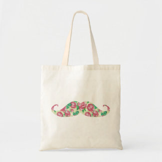 おもしろいでガーリーなピンクの緑の白い花の髭 トートバッグ