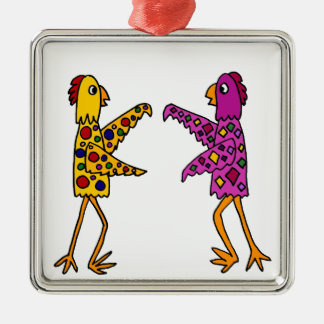 おもしろいでファンキーな鶏の踊ること メタルオーナメント