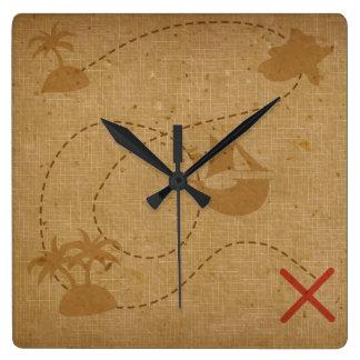 おもしろいでユニークなヴィンテージの海賊宝物地図 スクエア壁時計
