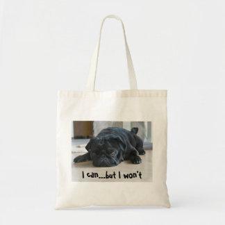 おもしろいで不精で黒いパグの子犬のトートバック トートバッグ