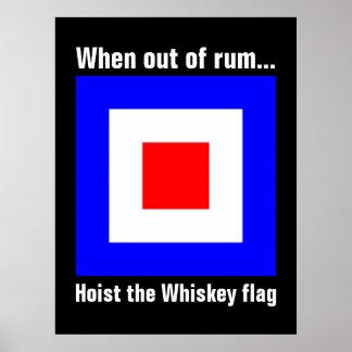 おもしろいで国際的な海上ウィスキーのシグナルフラグ ポスター