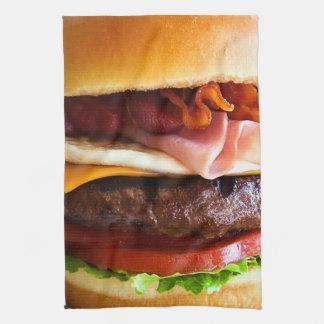 おもしろいで大きいハンバーガー キッチンタオル