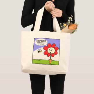 おもしろいで大きく赤い花および蜂の漫画の庭のユーモア ラージトートバッグ