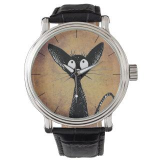 おもしろいで小さい黒猫 腕時計