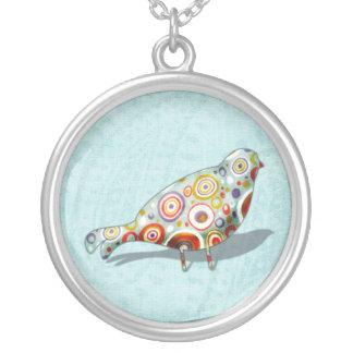 おもしろいで小さくお洒落な鳥 シルバープレートネックレス