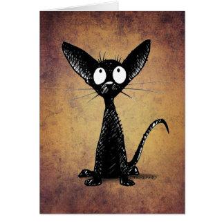 おもしろいで小さく黒い東洋猫の芸術 カード