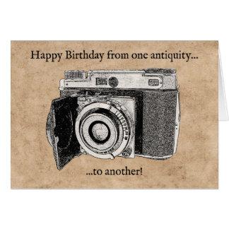 おもしろいで旧式なカメラのバースデー・カード カード
