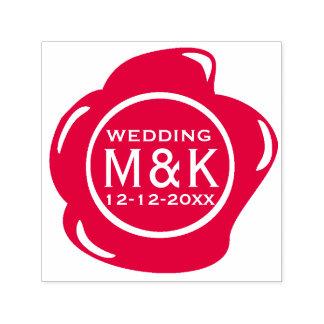 おもしろいで模造ので赤いワックスのシールのモノグラムを結婚するDIY セルフインキングスタンプ