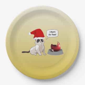 おもしろいで気難しい子ネコのクリスマスの紙皿 ペーパープレート