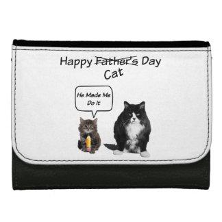 おもしろいで気難しい猫の父の日の革財布