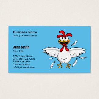 おもしろいで熱狂するな漫画の鶏の淡いブルーの背景 名刺