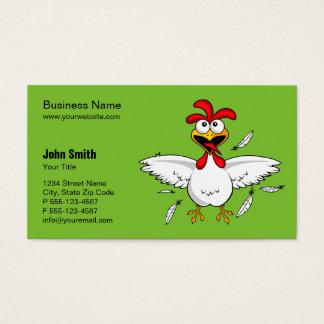 おもしろいで熱狂するな漫画の鶏の緑の背景 名刺