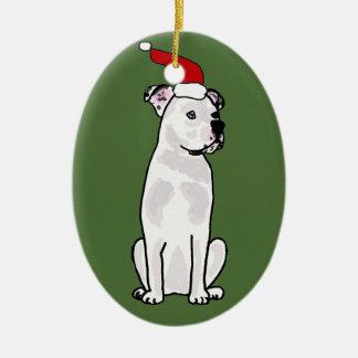 おもしろいで白いアメリカのブルドッグのクリスマスのデザイン セラミックオーナメント
