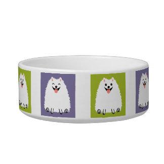 おもしろいで白いポメラニア犬の漫画犬 猫用ごはん皿